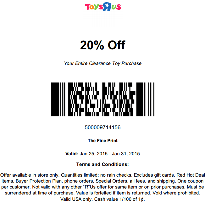 Toys R Us Coupon June 2017 20% off clearance at Toys R Us