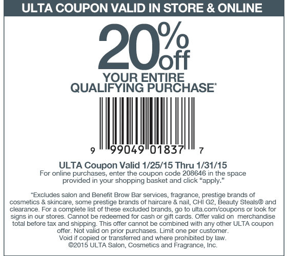 Ulta Coupon September 2017 20% off at Ulta, or online via promo code 208646