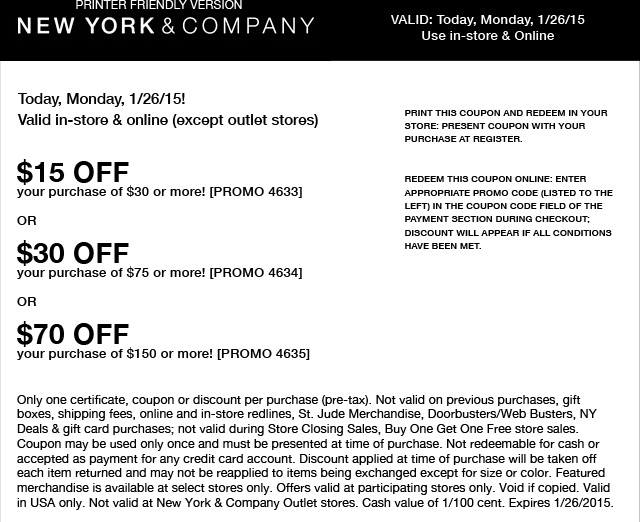 New York & Company Coupon September 2017 $15 off $30 at New York & Company, or online via promo code 4633