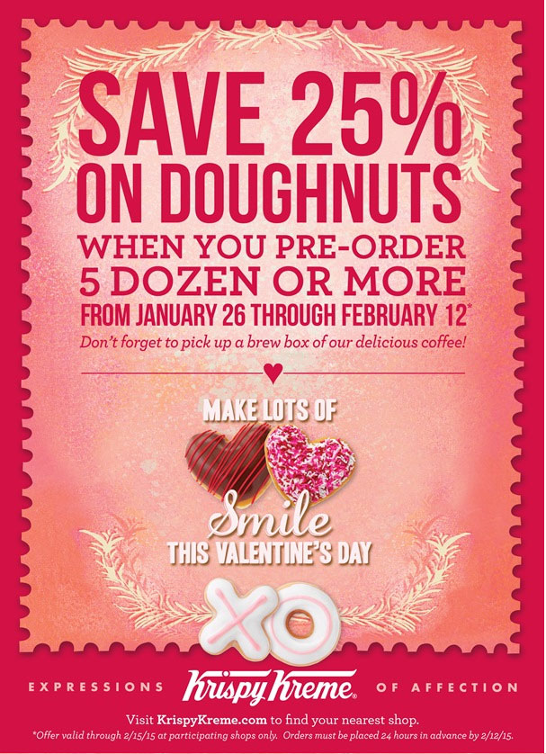 Krispy Kreme Coupon February 2017 25% off large pre-orders of doughnuts at Krispy Kreme