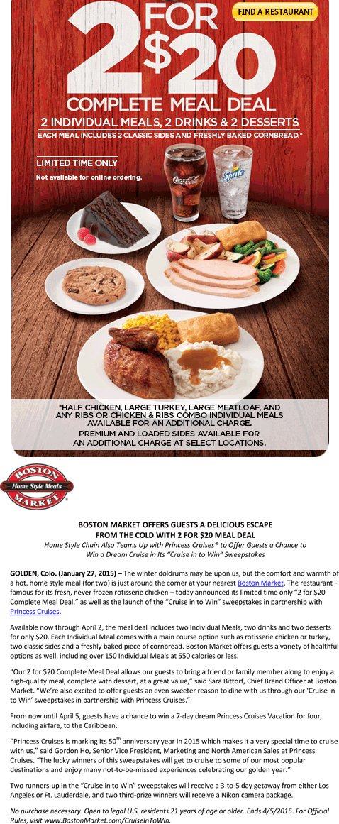 Boston Market Coupon July 2017 2 meals, 2 drinks, 2 desserts for $20 at Boston Market