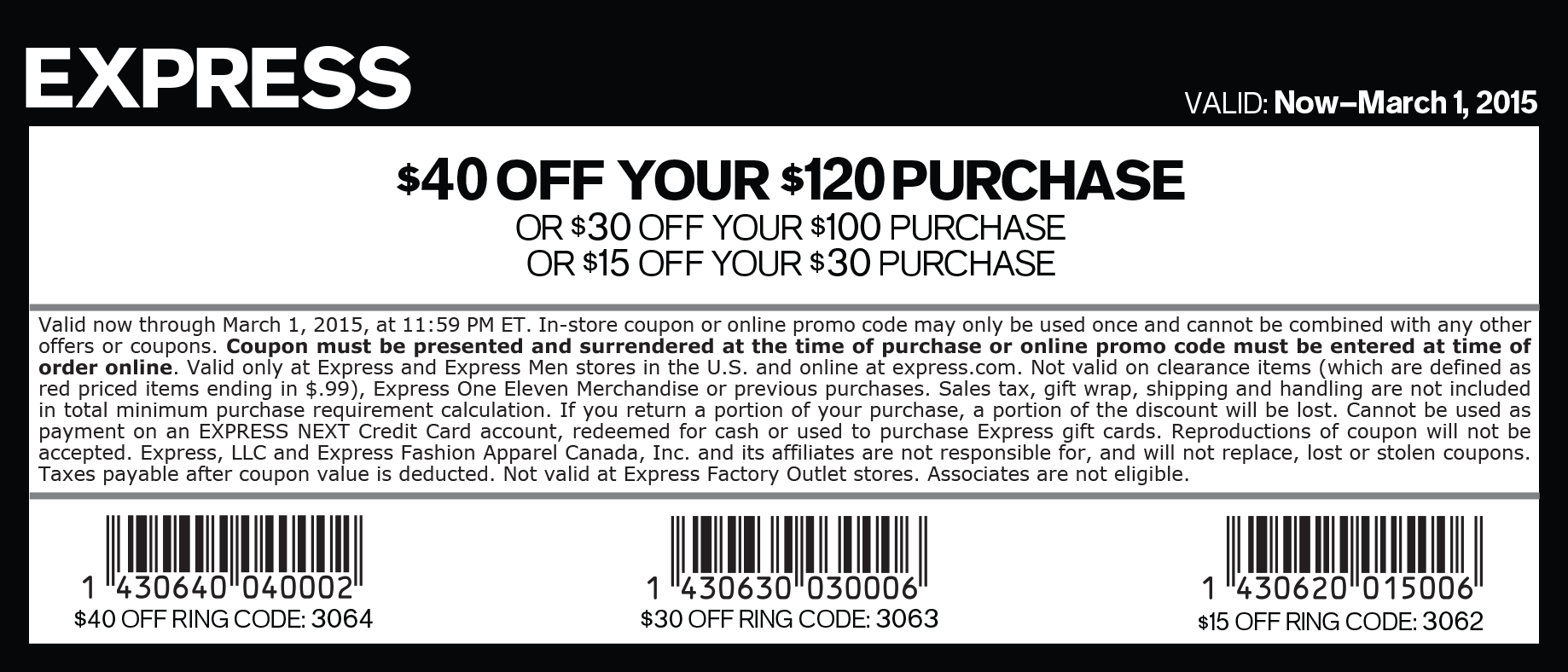 Express Coupon September 2018 $15 off $30 & more at Express, or online via promo code 3060