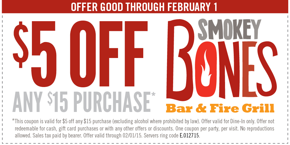 Smokey Bones Coupon May 2017 $5 off $15 at Smokey Bones bar & fire grill