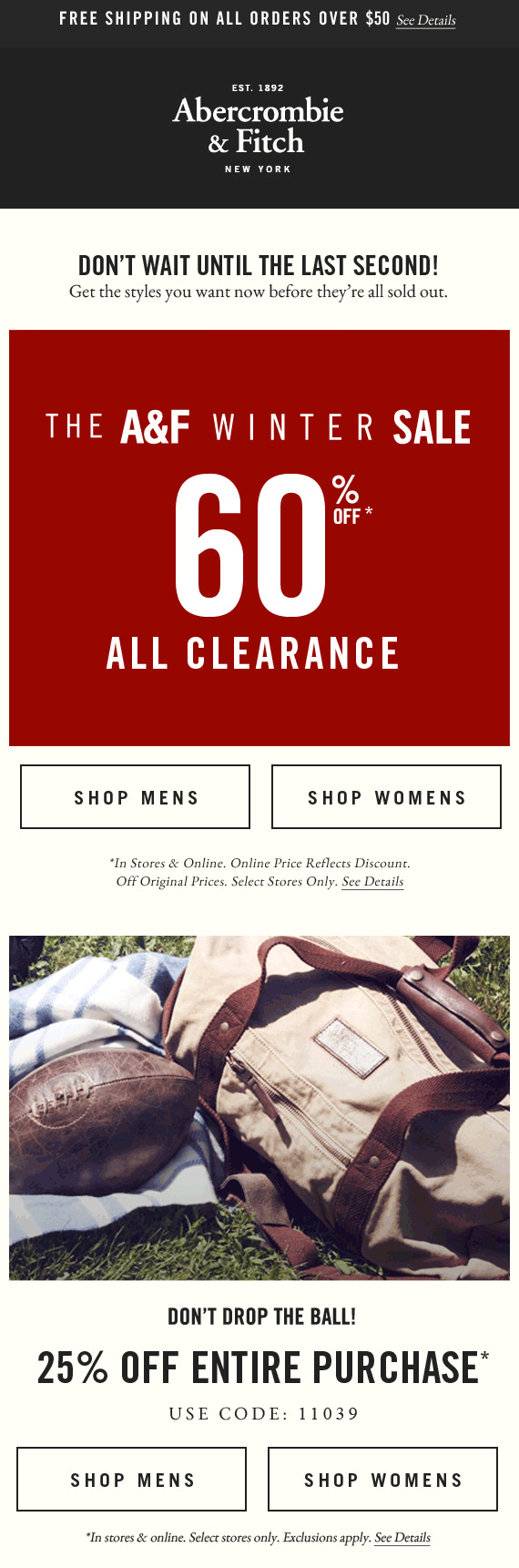Abercrombie & Fitch Coupon February 2018 60% off clearance + 25% off everything at Abercrombie & Fitch, or online via promo code 11039