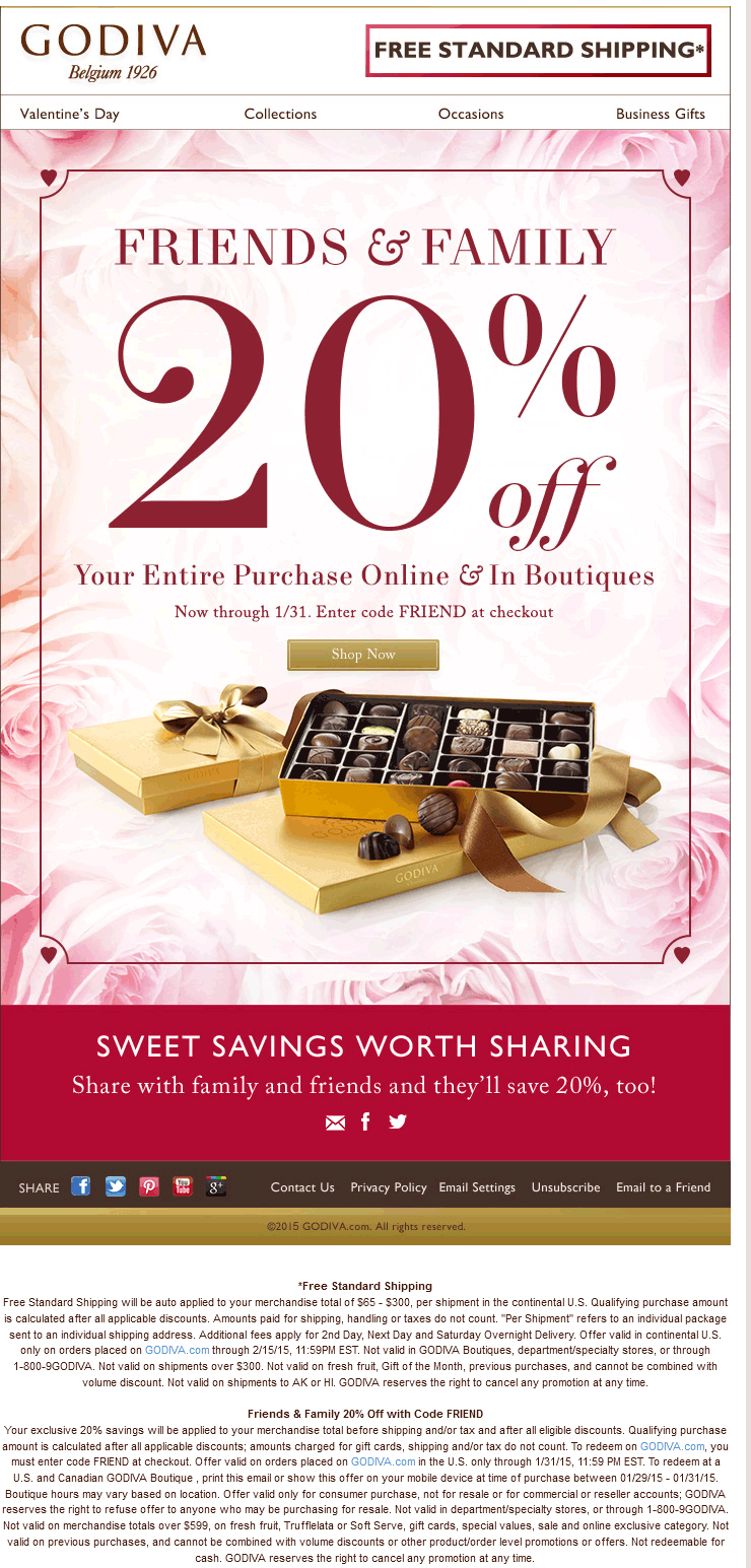 Godiva Coupon May 2017 Chocolates are 20% off at Godiva, or online via promo code FRIEND