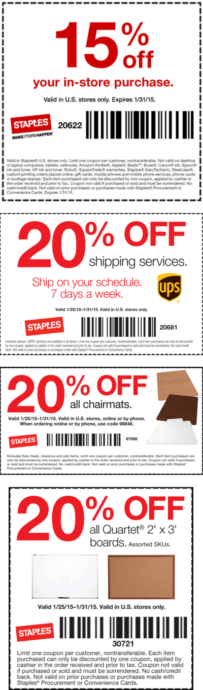 Staples Coupon December 2016 15% off & more at Staples