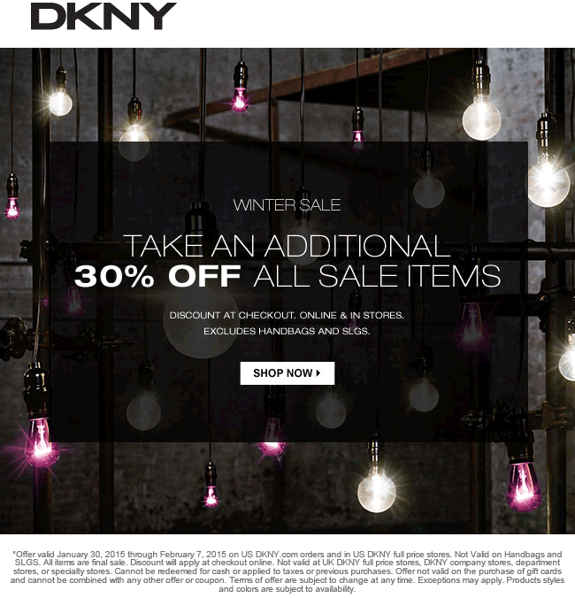 DKNY Coupon February 2018 Extra 30% off sale items at DKNY, ditto online