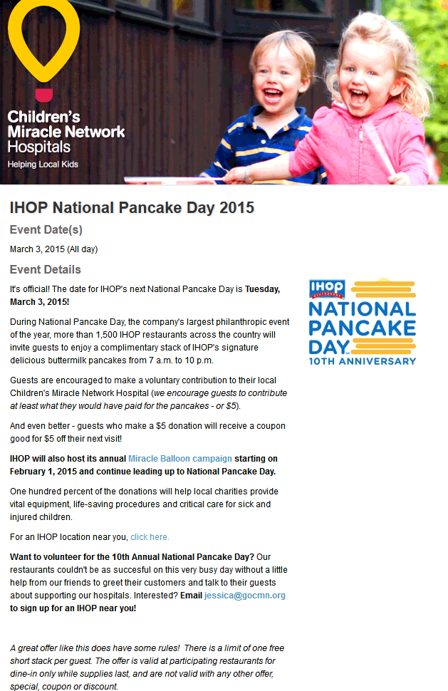 IHOP Coupon November 2017 Free stack of pancakes March 3 at IHOP