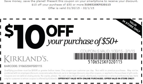 Kirklands Coupon April 2019 $10 off $50 at Kirklands homegoods