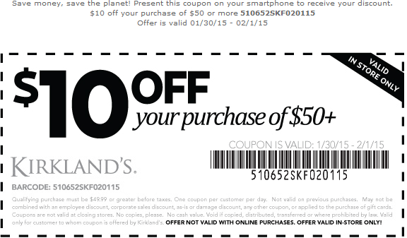 Kirklands Coupon August 2017 $10 off $50 at Kirklands homegoods