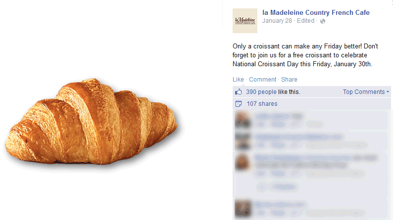 la Madeleine Cafe Coupon September 2017 Free croissant today at la Madeleine Cafe
