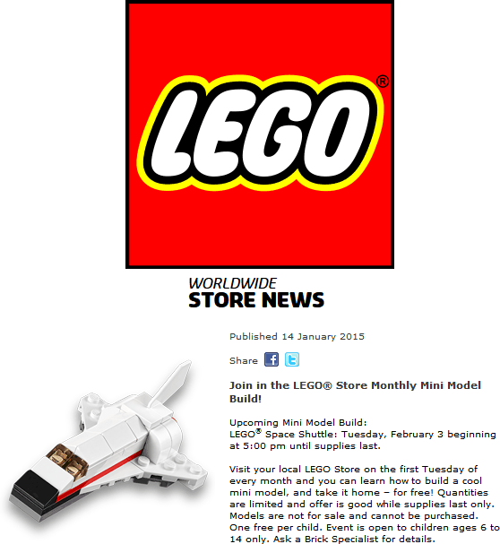 LEGO Coupon February 2017 Free mini space shuttle build Tuesday at LEGO stores