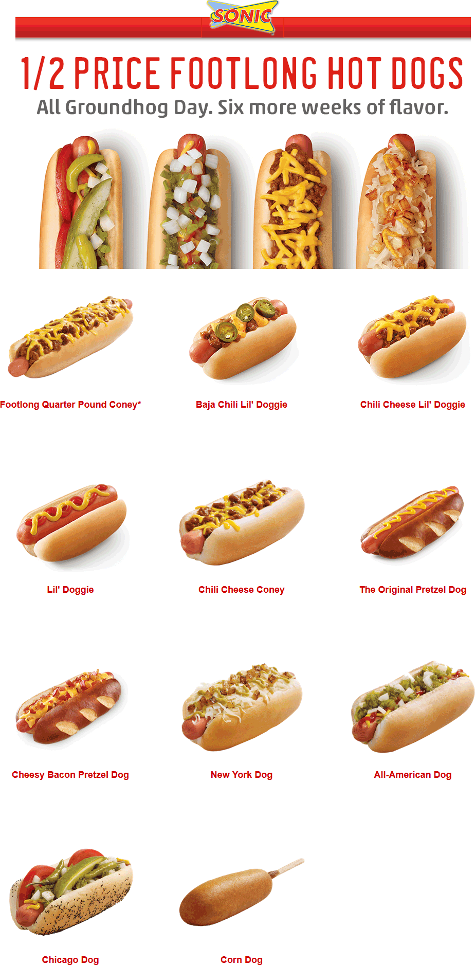 Sonic Drive-In Coupon February 2017 50% off hot dogs Monday at Sonic Drive-In