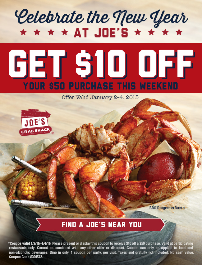 Joes Crab Shack Coupon May 2018 $10 off $50 at Joes Crab Shack restaurants