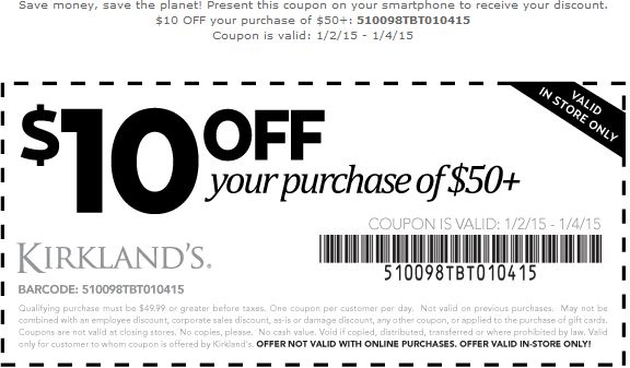 Kirklands Coupon March 2017 $10 off $50 at Kirklands