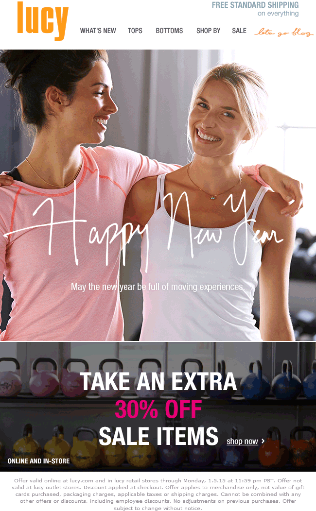Lucy Coupon April 2017 Extra 30% off sale items at Lucy activewear, ditto online