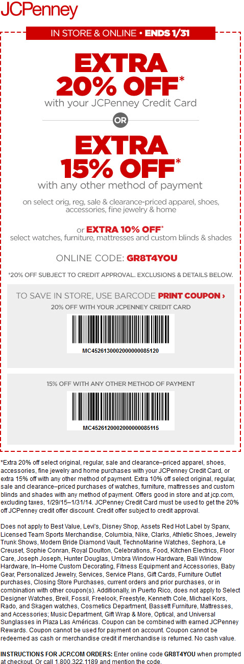 JCPenney Coupon October 2018 15% off at JCPenney, or online via promo code GR8T4YOU