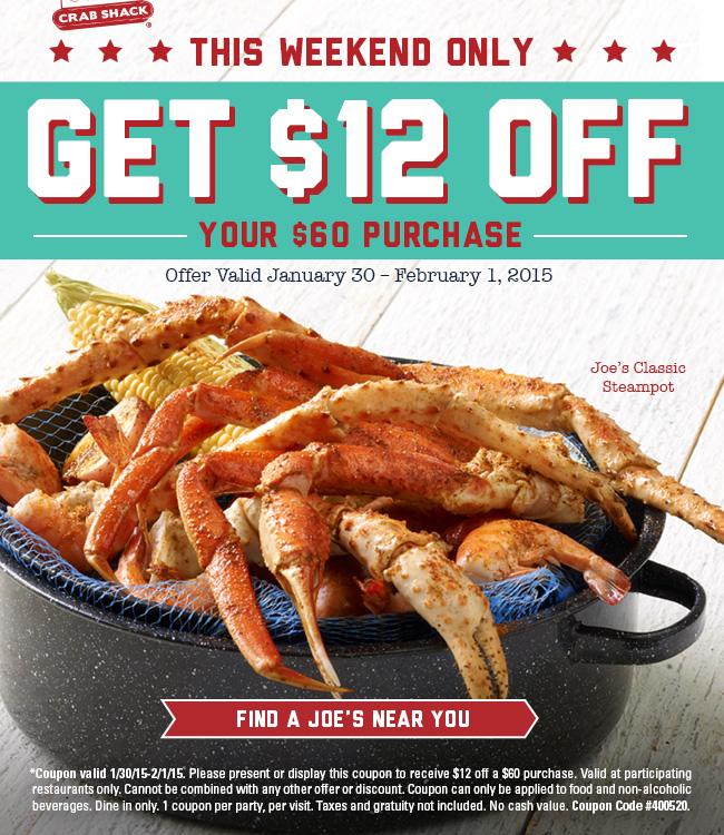 Joes Crab Shack Coupon May 2017 $12 off $60 at Joes Crab Shack