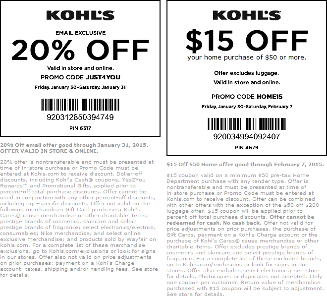 Kohls Coupon February 2017 20% off at Kohls, or online via promo code JUST4YOU