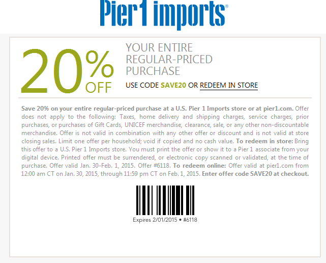 Pier 1 Coupon June 2017 20% off at Pier 1 Imports, or online via promo code SAVE20
