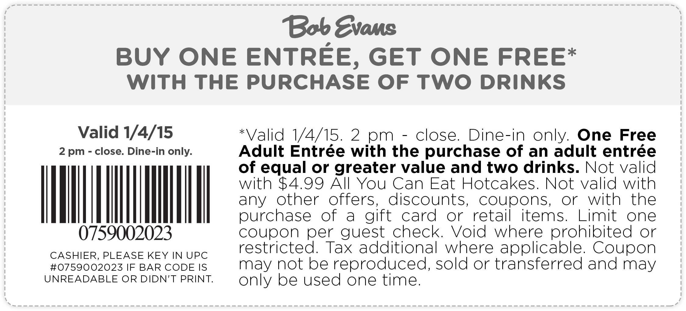 Bob Evans Coupon December 2016 Second entree free today at Bob Evans