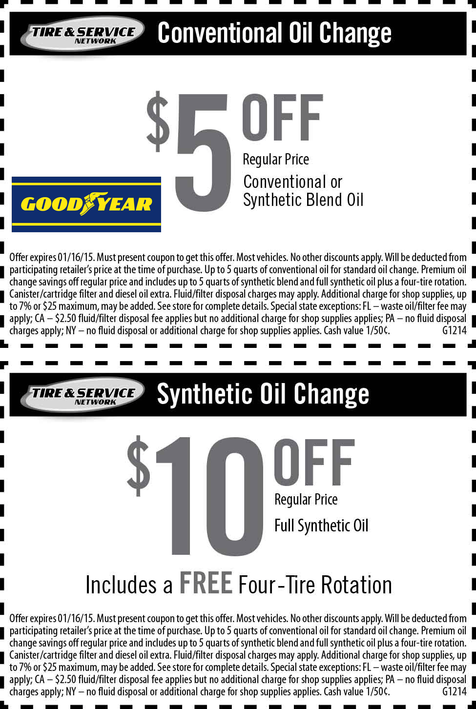 Goodyear Coupon September 2018 $5-$10 off an oil change at GoodYear