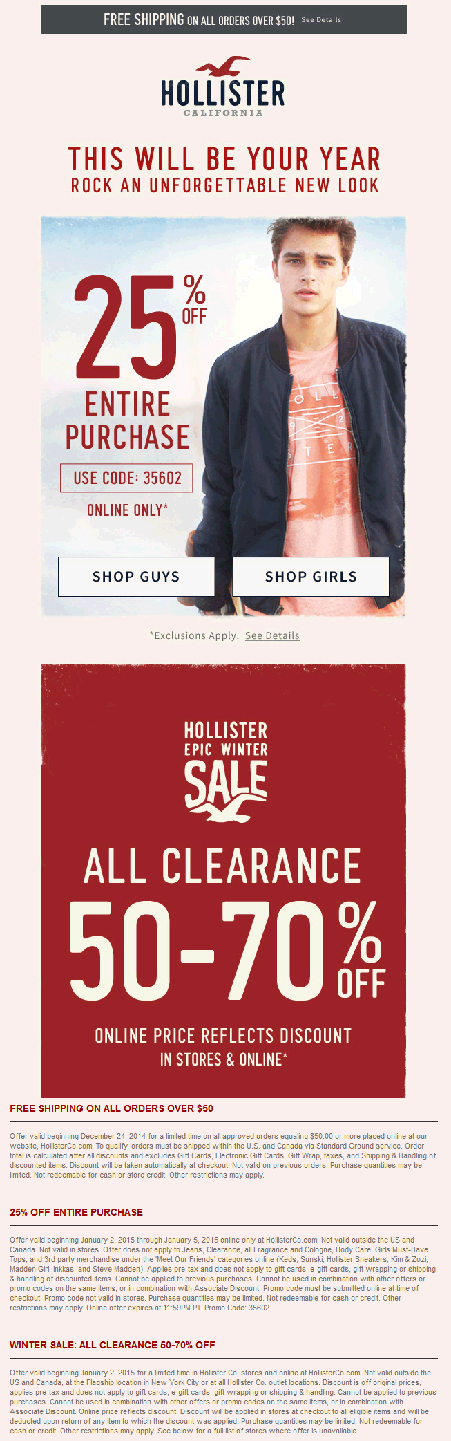 Hollister Coupon September 2017 25% off everything + 50-70% off clearance at Hollister, or online via promo code 35602