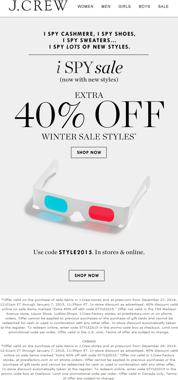 J.Crew Coupon May 2018 Extra 40% off sale styles at J.Crew, or online via promo code STYLE2015