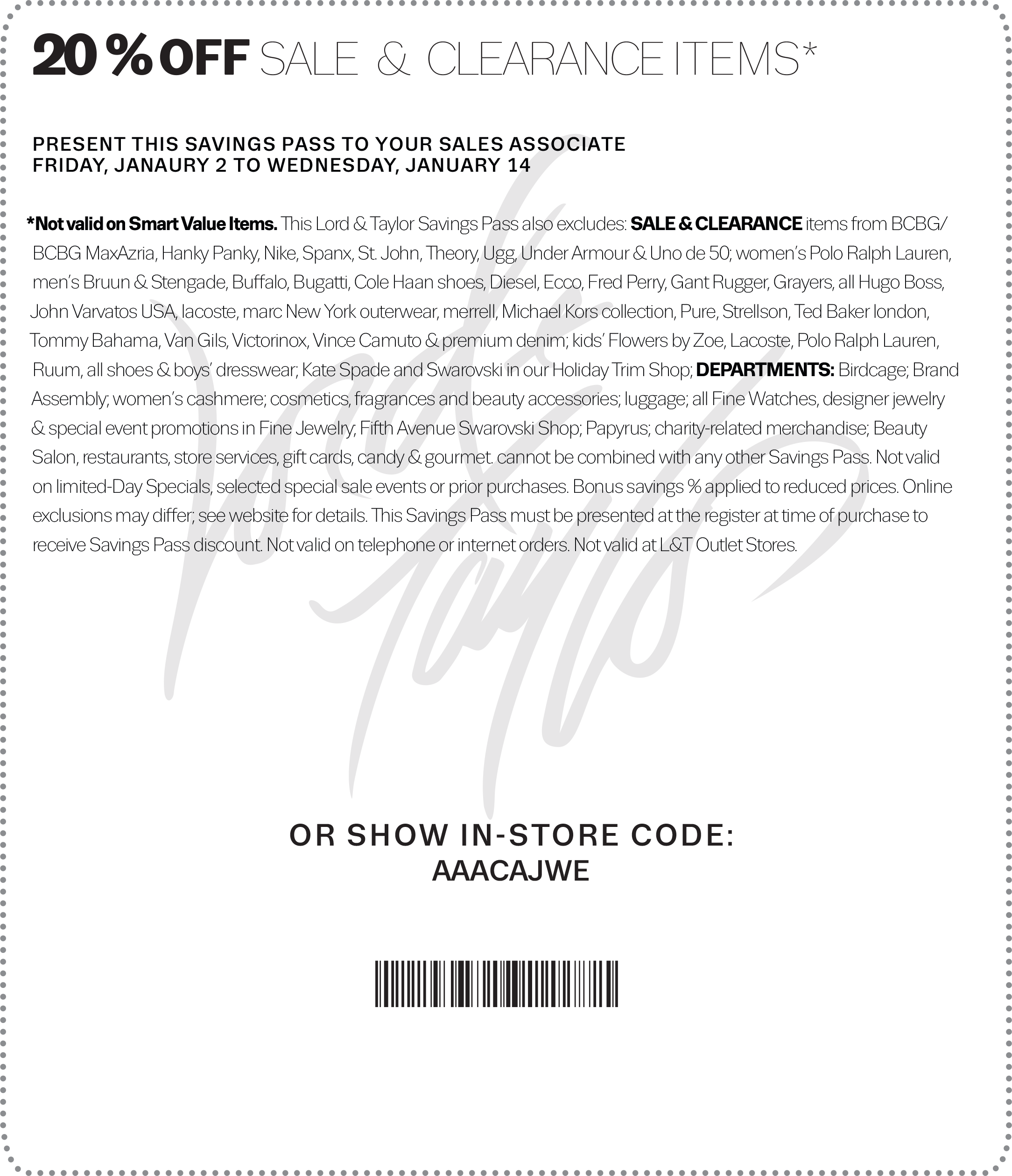 Lord & Taylor Coupon July 2018 Extra 20% off sale & clearance at Lord & Taylor, or online via promo code WINTER