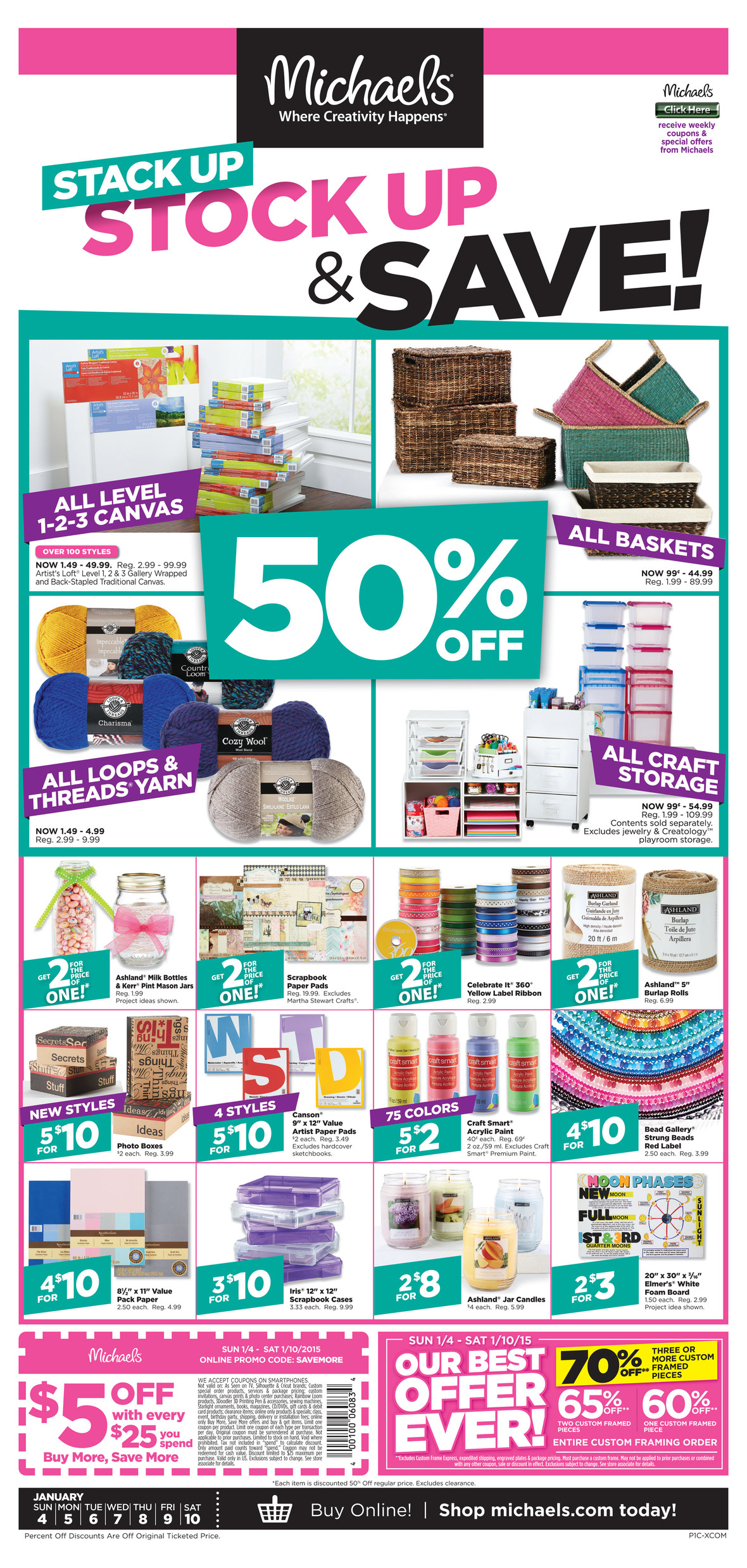Michaels Coupon April 2017 $5 off every $25 at Michaels, or online via promo code SAVEMORE