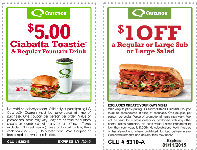 Quiznos Coupon July 2017 $1 off a sub or $5 ciabatta & drink at Quiznos