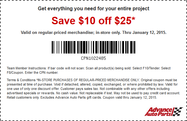 Advance Auto Parts Coupon December 2018 $10 off $25 at Advance Auto Parts