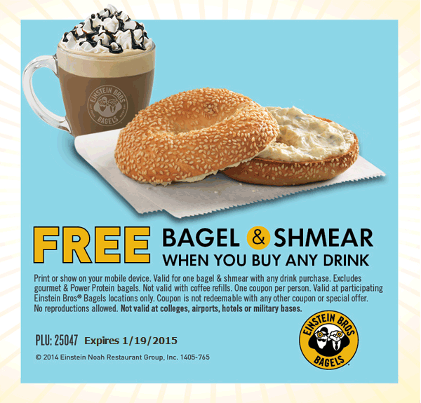 Einstein Bros Bagels Coupon December 2016 Bagel & shmear free with any drink at Einstein Bros Bagels
