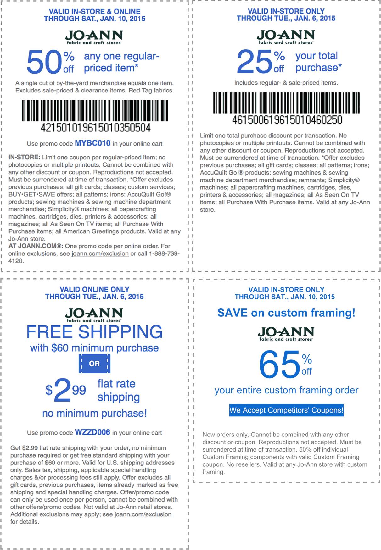 Jo-Ann Coupon January 2018 50% off a single item & more at Jo-Ann Fabric, or online via promo code MYBC010