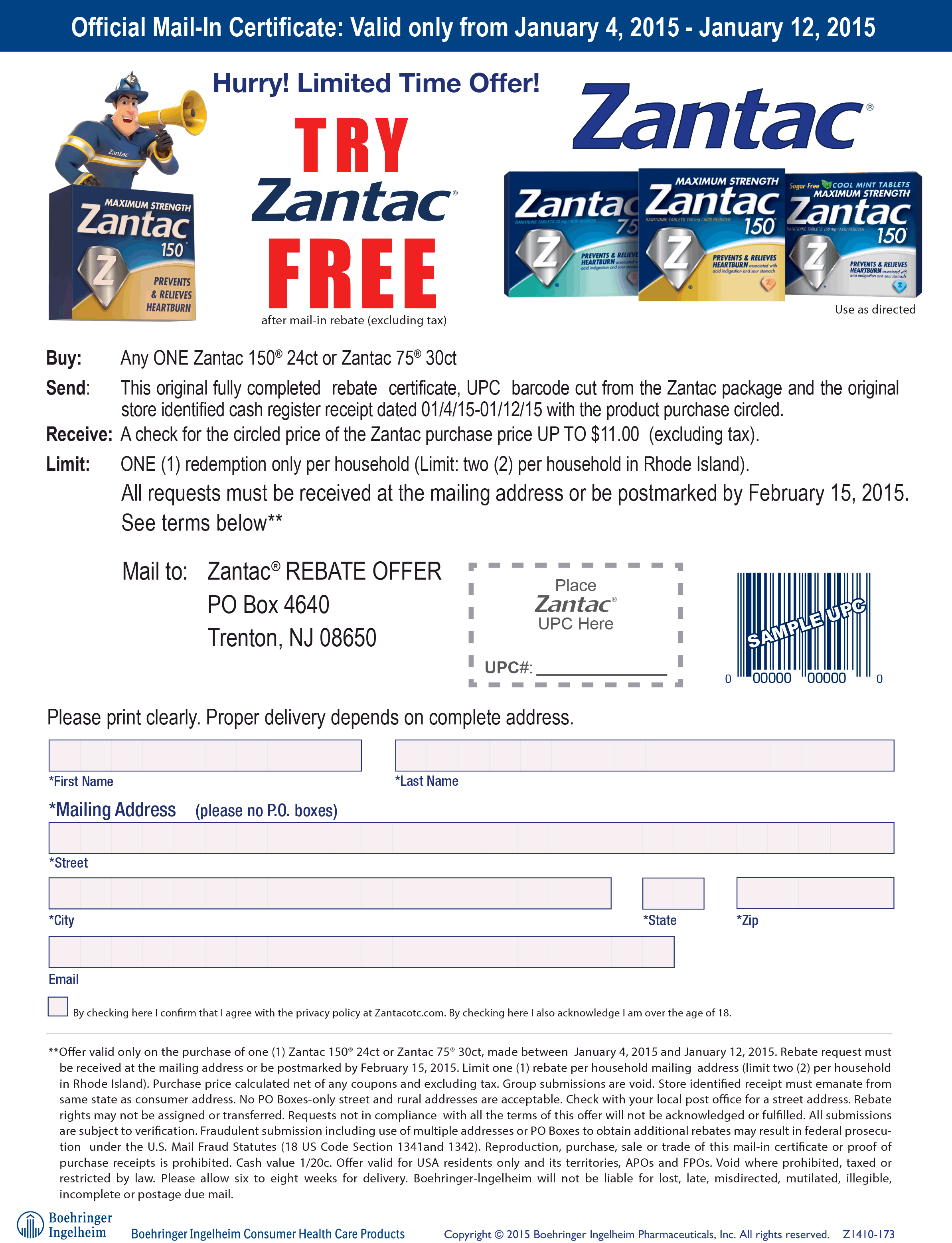Rebate Coupon May 2018 $11 package of Zantac free via snail mail Rebate