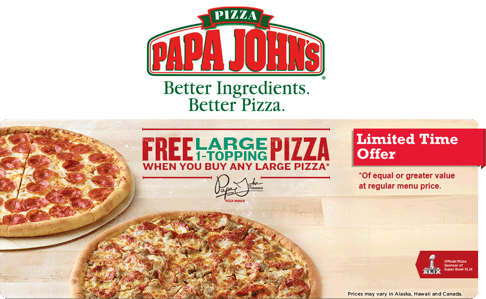Papa Johns Coupon March 2018 Second large pizza free at Papa Johns via promo code P1BOGO