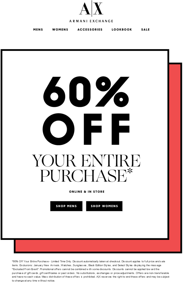 Armani Exchange Coupon January 2017 60% off at Armani Exchange, ditto online