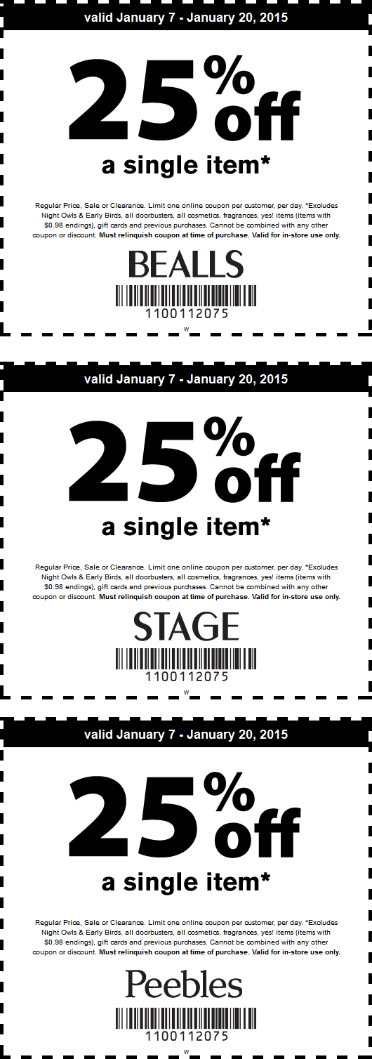 Bealls Coupon December 2018 25% off a single item at Bealls, Peebles & Stage Stores