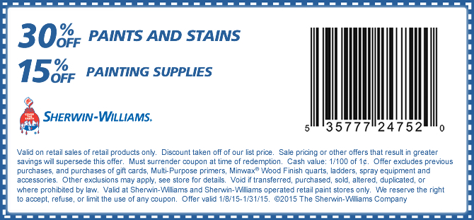 Sherwin Williams Coupon January 2017 30% off paint & stain, 15% off supplies at Sherwin Williams