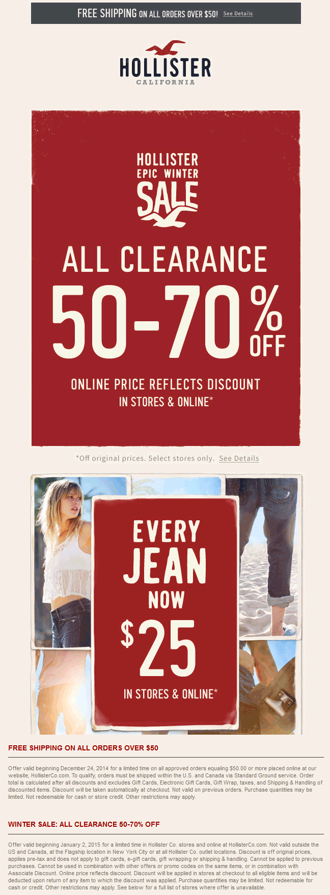 Hollister Coupon December 2018 Extra 50-70% off clearance at Hollister, ditto online