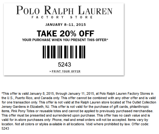 Polo Ralph Lauren Factory Coupon June 2017 Extra 20% off at Polo Ralph Lauren Factory locations