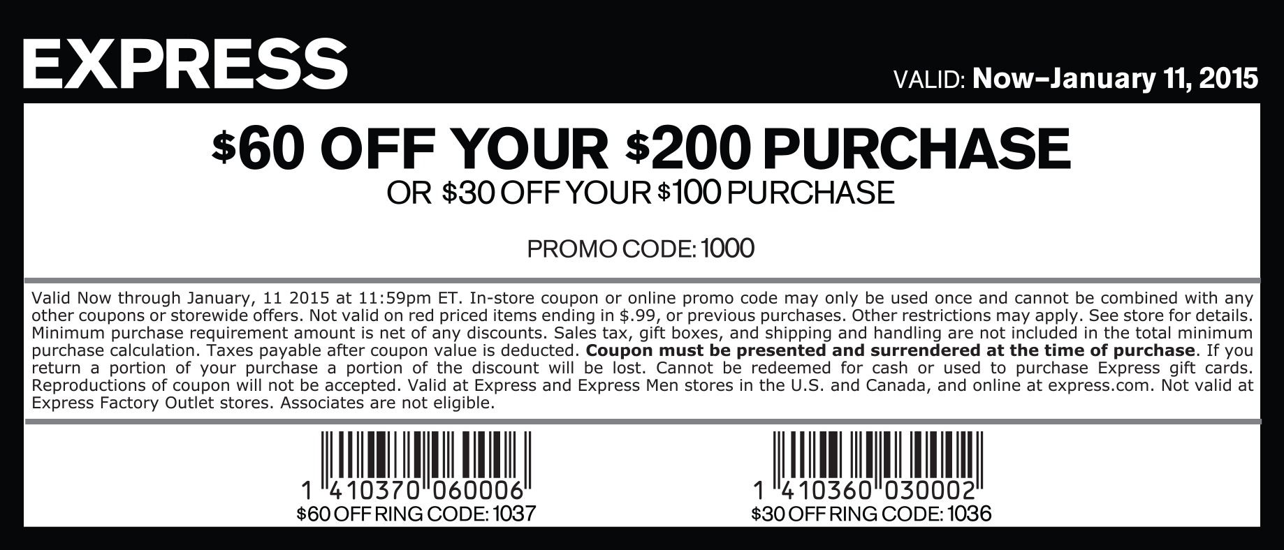 Express Coupon February 2019 $30 off $100 & more at Express, or online via promo code 1000