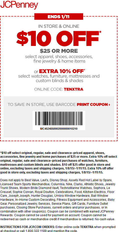 JCPenney Coupon January 2017 $10 off $25 at JCPenney, or online via promo code TENXTRA