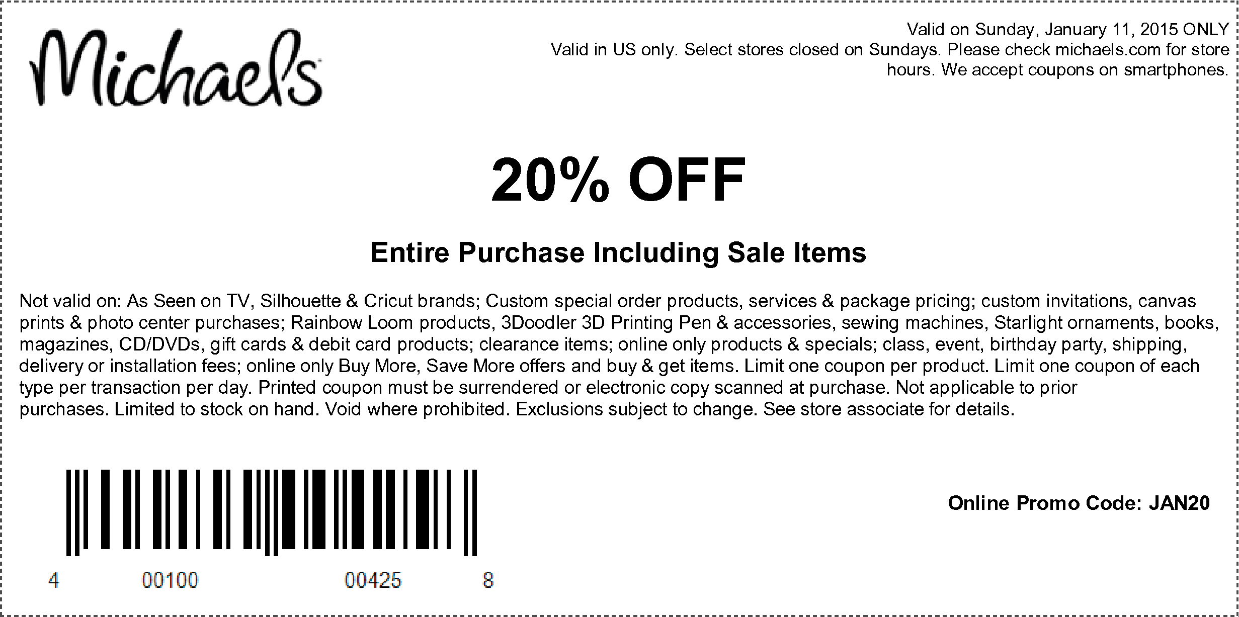 Michaels Coupon January 2018 20% off everything Sunday at Michaels, or online via promo code JAN20
