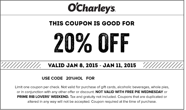 OCharleys Coupon May 2017 20% off at OCharleys restaurants