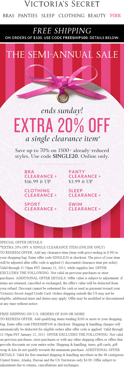 Victorias Secret Coupon December 2016 Extra 20% off a single clearance item online at Victorias Secret via promo code SINGLE20