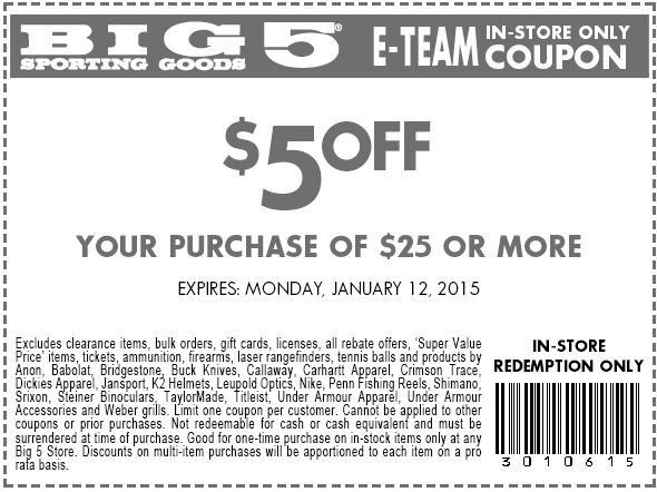 Big 5 Coupon August 2017 $5 off $25 at Big 5 sporting goods