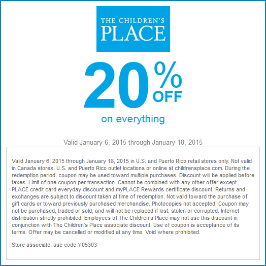Childrens Place Coupon January 2017 20% off everything at The Childrens Place