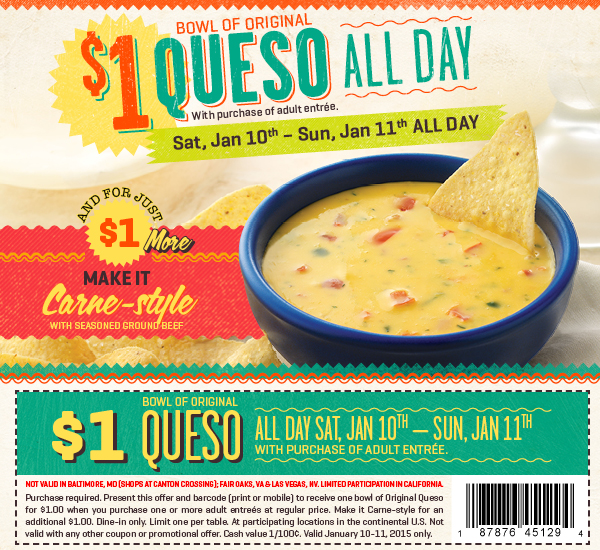On The Border Coupon June 2017 Bowl of chips & queso for a buck this weekend at On The Border restaurants