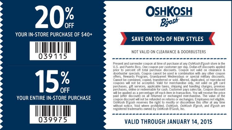 OshKosh Bgosh Coupon June 2017 20% off $40 & more at OshKosh Bgosh